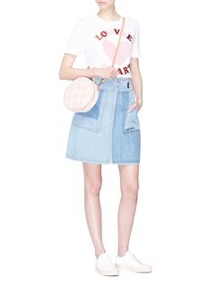 Etre Cecile  French bulldog embroidered patchwork effect denim skirt
