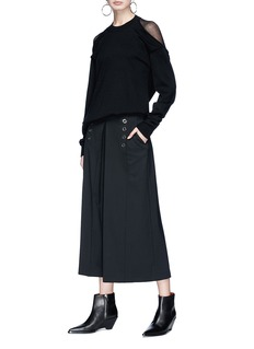 Alexander Wang  Hook-and-eye pleated twill culottes