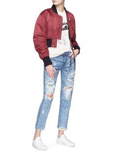 Tortoise 'Savanna' patchwork cropped straight leg jeans