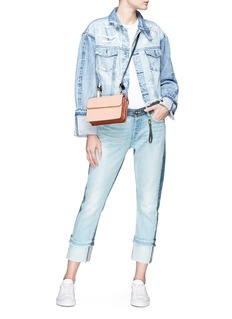 Tortoise 'Marco' roll cuff ripped cropped denim jacket