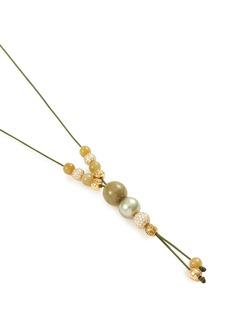 Shamballa Jewels Diamond sapphire 18k yellow gold necklace