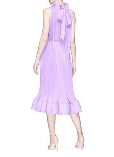Tibi Ruffle neck pleated midi dress