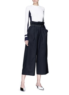 Tibi Belted virgin wool paperbag suiting culottes