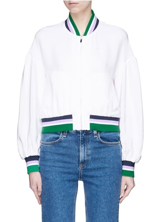 Main View - Click To Enlarge - Tibi - 'Cleo' stripe border cropped silk satin bomber jacket