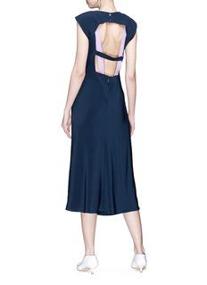 Tibi Cutout harness back silk satin dress