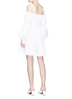 Jourden Asymmetric strap puff sleeve off-shoulder poplin dress