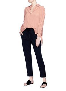 Vince Tie cuff silk crepe blouse