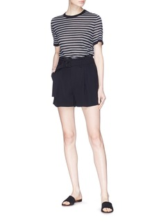 Vince Belted pleated crepe shorts