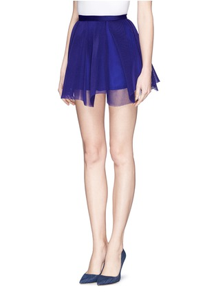 Front View - Click To Enlarge - Comme Moi - Box pleat honeycomb mesh flare skirt