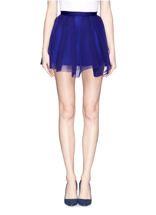 Main View - Click To Enlarge - Comme Moi - Box pleat honeycomb mesh flare skirt