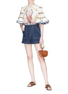 Chloé Contrast topstitching denim shorts