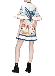 Chloé Pictorial print ruffle silk mini dress
