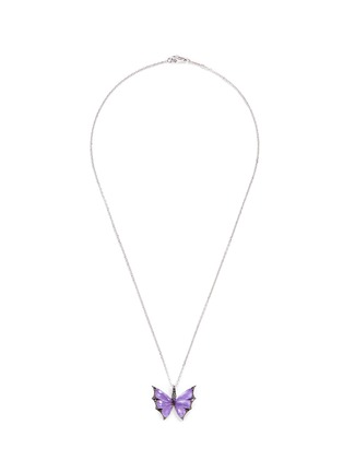 Main View - Click To Enlarge - Stephen Webster - 'Fly By Night' diamond amethyst 18k white gold batmoth pendant necklace