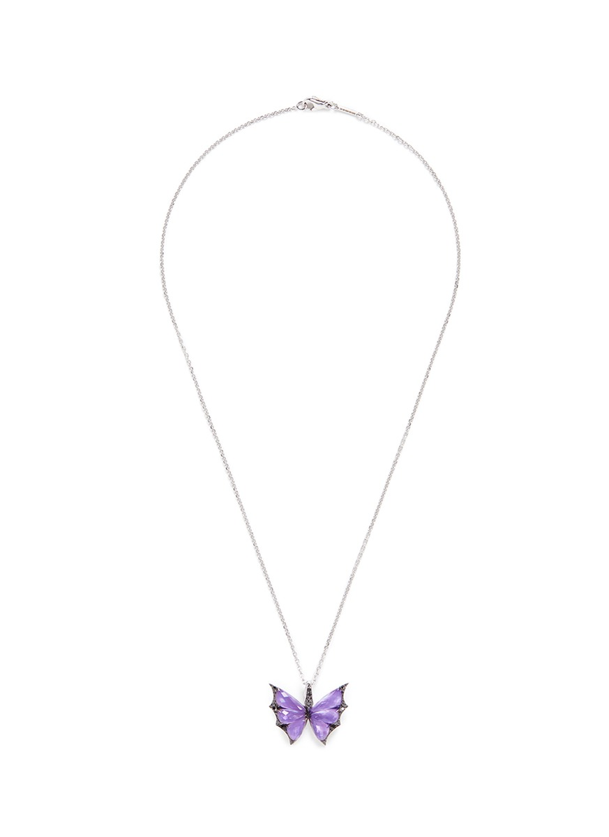 Fly By Night diamond amethyst 18k white gold batmoth pendant necklace by Stephen Webster