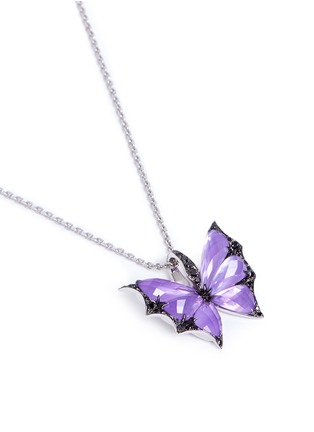 Figure View - Click To Enlarge - Stephen Webster - 'Fly By Night' diamond amethyst 18k white gold batmoth pendant necklace