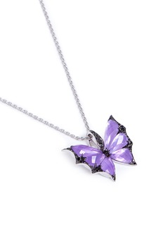 Stephen Webster 'Fly By Night' diamond amethyst 18k white gold batmoth pendant necklace