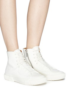 both Rubber patch horse leather high top sneakers