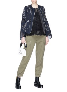 Sacai Embellished mesh panel cotton-cashmere knit jacket