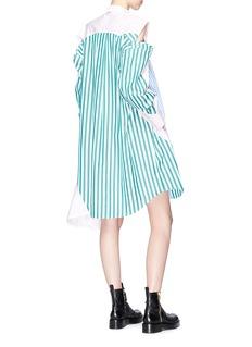 Sacai Colourblock cutout stripe shoulder shirt dress