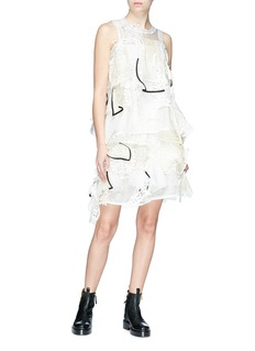 Sacai Crochet lace patch organdy sleeveless top