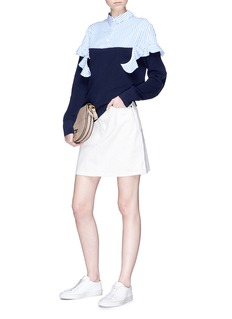Sacai Ruffle stripe poplin panel sweater
