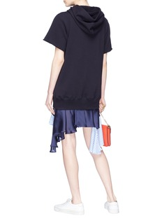 Sacai Ruffle poplin skirt sweatshirt dress