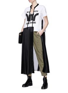 Sacai 'Beware It's Everywhere' T-shirt overlay pleated mesh dress