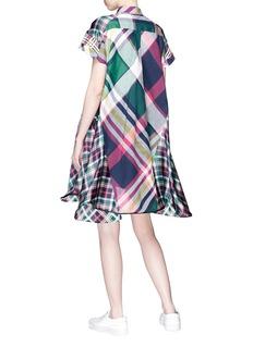 Sacai Mix check plaid flared shirt dress