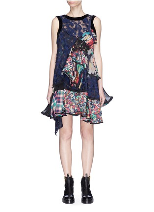 Main View - Click To Enlarge - Sacai - Mix print panelled tiered ruffle dress