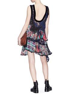 Sacai Mix print panelled tiered ruffle dress