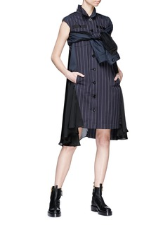 Sacai Asymmetric panelled pinstripe shirt dress