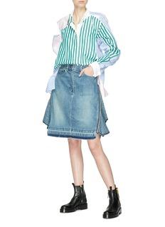 Sacai Colourblock cutout shoulder stripe shirt