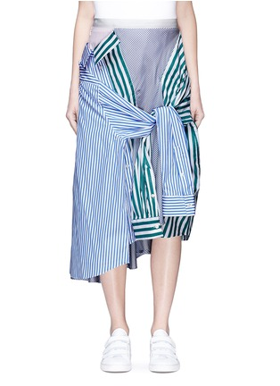 Main View - Click To Enlarge - Sacai - Sleeve tie asymmetric shirt panel skirt