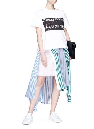 Figure View - Click To Enlarge - Sacai - Sleeve tie asymmetric shirt panel skirt