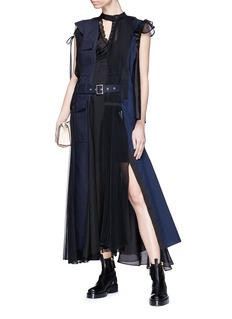Sacai Colourblock asymmetric panelled maxi dress