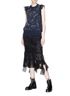 Sacai Asymmetric hem guipure lace drape midi skirt