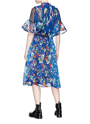 Back View - Click To Enlarge - Sacai - Belted floral print panelled midi dress