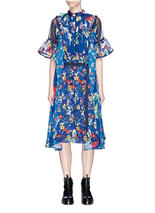 Main View - Click To Enlarge - Sacai - Belted floral print panelled midi dress