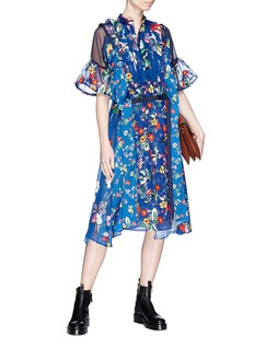 Sacai Belted floral print panelled midi dress