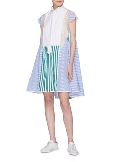 Sacai Organdy panel mix stripe flared shirt dress