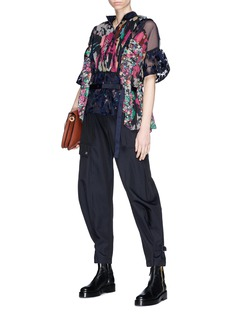Sacai Belted floral print panelled blouse