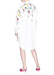 Oscar de la Renta 'Rainbow Splatter' embellished oversized poplin tunic