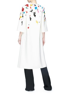 Oscar de la Renta Splatter embellished virgin wool blend open coat