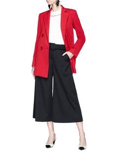 Oscar de la Renta Belted virgin wool suiting culottes