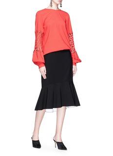 Oscar de la Renta Cutout puff sleeve silk crepe blouse