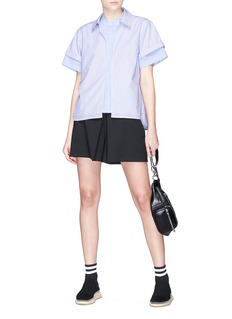 T By Alexander Wang Mix stripe layered poplin top