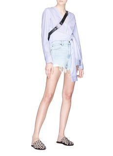 T By Alexander Wang Sleeve tie front mix stripe shirt