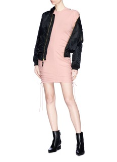 T By Alexander Wang Drawstring outseam button rolled sleeve mini dress
