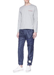 Thom Browne Stripe trim long sleeve T-shirt
