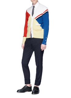 Thom Browne Colourblock cashmere rib knit cardigan